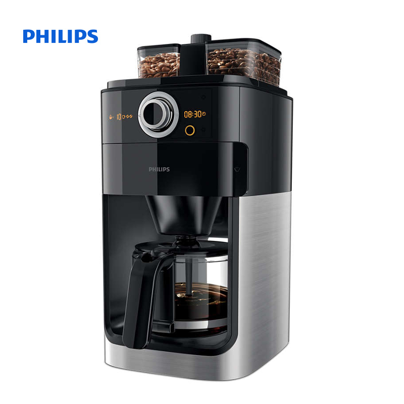Coffee Maker Grinder Timer : Philips Grind & Brew Coffee maker With glass jug Integrated coffee grinder Black & metal With ...