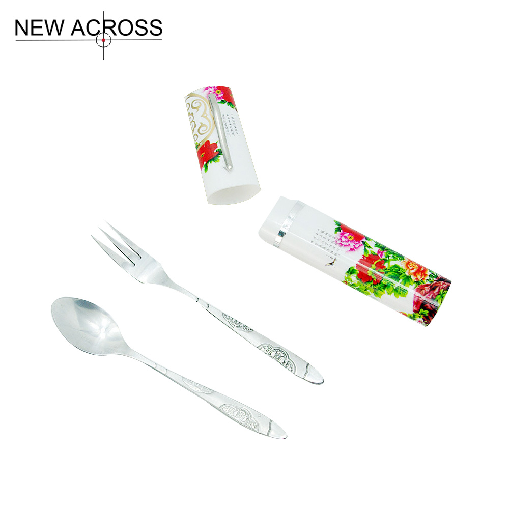 Gohide Chinese Style Chopsticks Dinnerware Set Portable Fork Spoon Three In Combination Bundle Spoon Fork Chopsticks