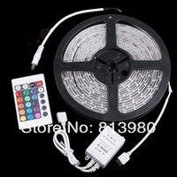 бесплатная доставка в RGB светодиодная лента водонепроницаемый 5 м 5050 СМД 300 светодиоды / рулон + 24 ключи ик дистанционного