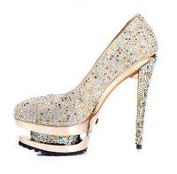 алмаз хрустальную туфельку кожа водонепроницаемый с высокой ночной клуб невесты свадьба обуви обуви