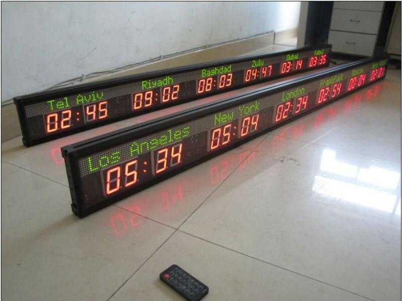 Relógio de parede led (5 cidades relógio de hora mundial)