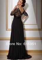 уплотнение черное кружево с длинным рукавом с V-бюстгальтер провода мать невесты платья платья модели Chef jy476