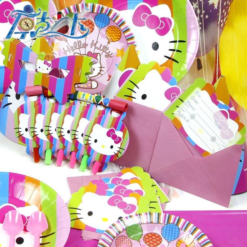 78pcs Kids Birthday Party Decoration Set Birthday Hello Kitty Theme