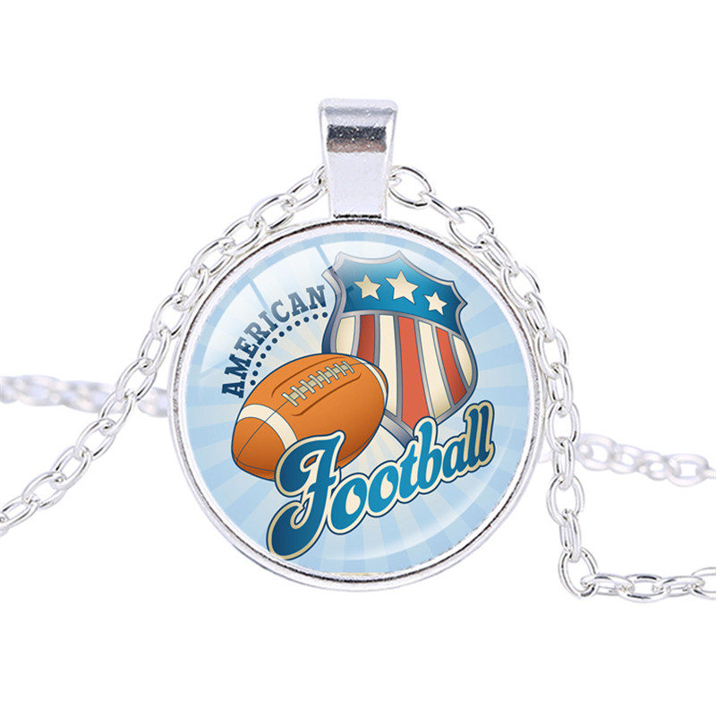 Sport Football Rugby Ball Helmet Charm Chain Necklace Women Fashion Jewelry Unique Necklace Gifts Souvenirs