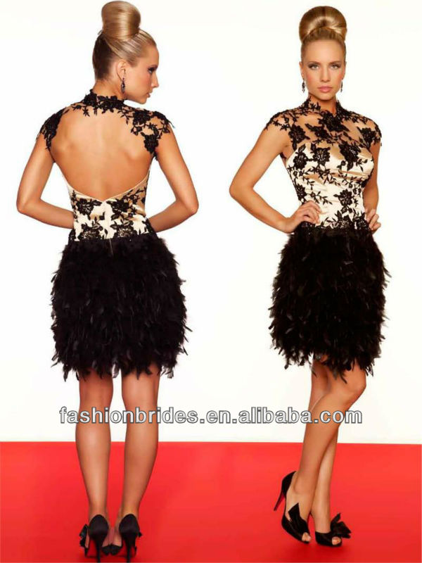 C0502 Sexy sheer straps high neckline lace short feather cocktail ...