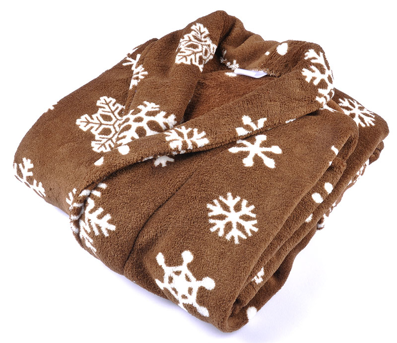 Adult Soft Coral Fleece Warm Winter Bathrobe Printed Snow Brown Plus Size Couple Dressing Gown Sleepwear Robe For Men Women 3