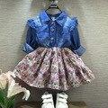 2017 muchachas del otoño del resorte dril de algodón de manga completa patchwork vestido