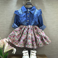 2017 spring autumn girls full-sleeve denim patchwork dress