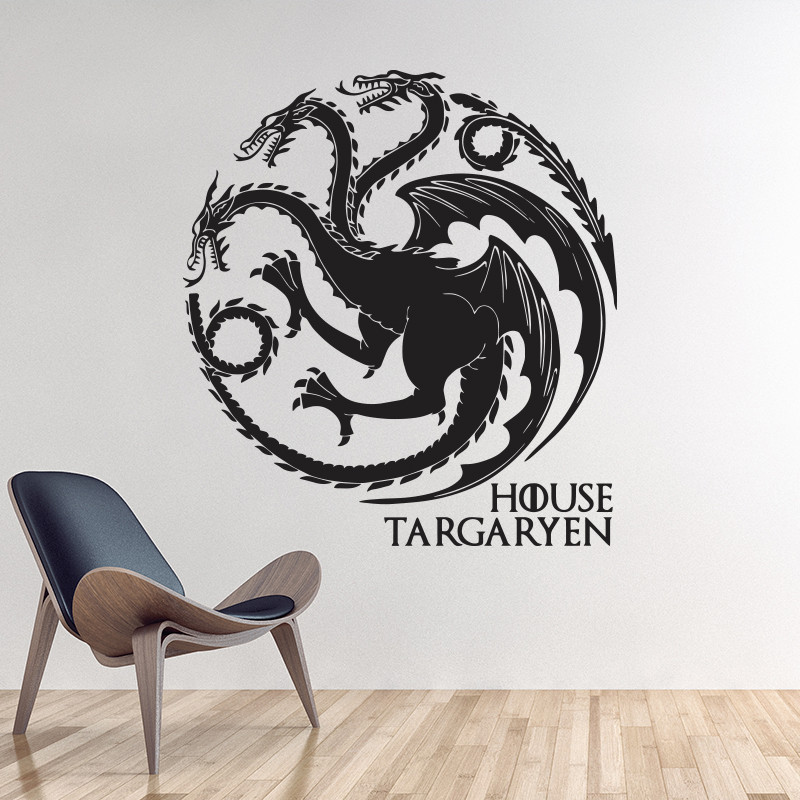 game of thrones house targaryen wall sticker home decor diy wall decals animal dragons pattern. Black Bedroom Furniture Sets. Home Design Ideas