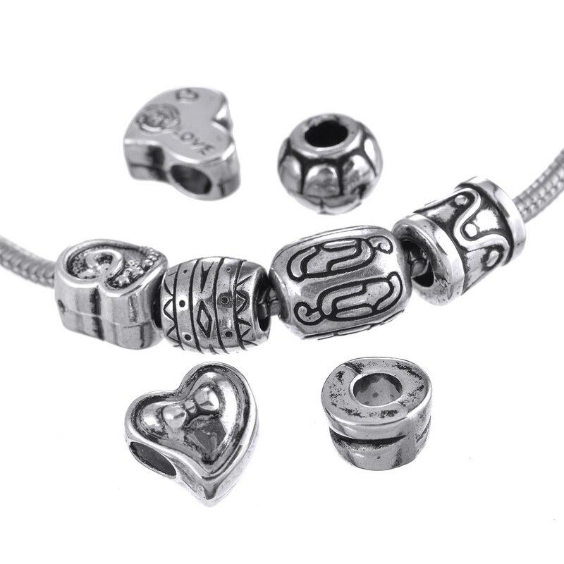 MJARTORIA 50PCs European Charm Beads Fit DIY Bracelets Necklaces ...