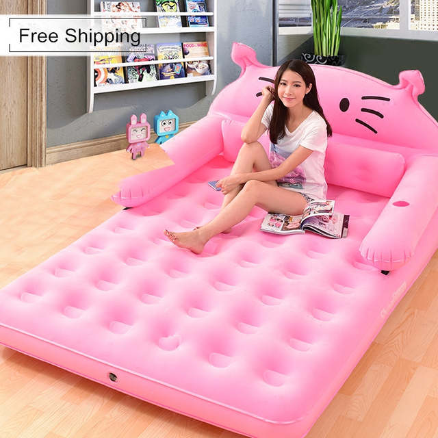 Bed With Backrest Inflatable Mattress