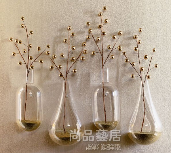 New Style Modern Home Decoration Hanging Wall Clear Glass Vases