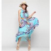 YSMARKET Hot Sale Casual Sleeveless Print Dresses Ladies Long Maxi Boho Women Summer Beach Chiffon Dress