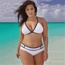 Cheap Plus Size High Waist Swimsuit Bikini Push Up Bra Swimwear Bikinis Women Ladies Sexy White