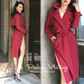 le palais vintage autumn women rockabilly pinup style burgundy long sleeve side split midi trench plus size sexy elegant coat