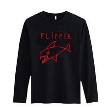 Trendy Flipper Fish Pattern New Fashion T Shirt Men Long Sleeve Cotton T-Shirt High Quality Mens Hiphop Cotton Tees XXS 3XL