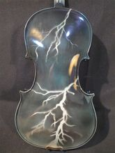 Handmade New Beautiful Drawing Black eElectric & Acoustic Violin 4/4 Lightning Painted Great Sound With Violino Case Bow