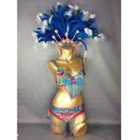 free shipping hot selling Sexy Samba Rio Carnival Costume Turquoise & Hot pink Feather Head piece