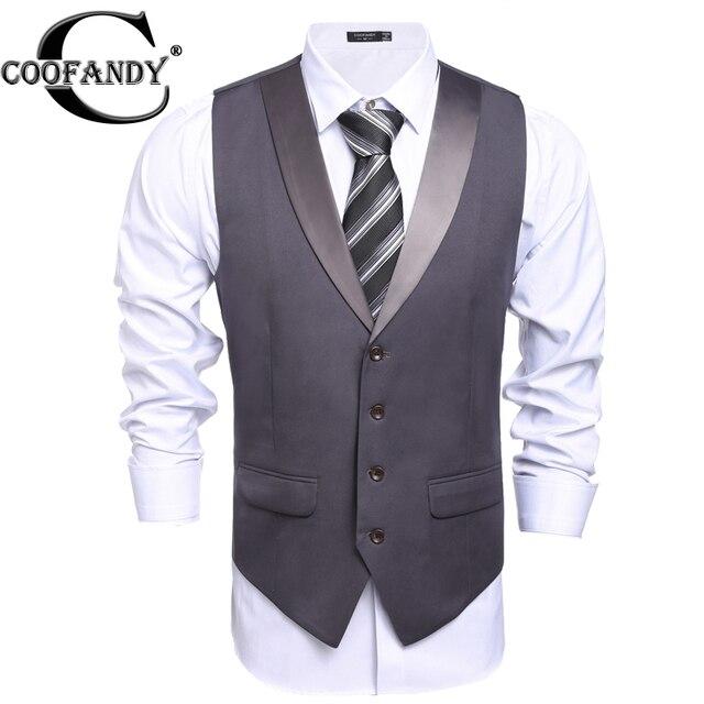 COOFANDY Men Suit Blazer Vest 2017 New Arrival V Neck Casual Waistcoat Business Button Suit Vest US Size S/M/L/XL/XXL Gray, Blac