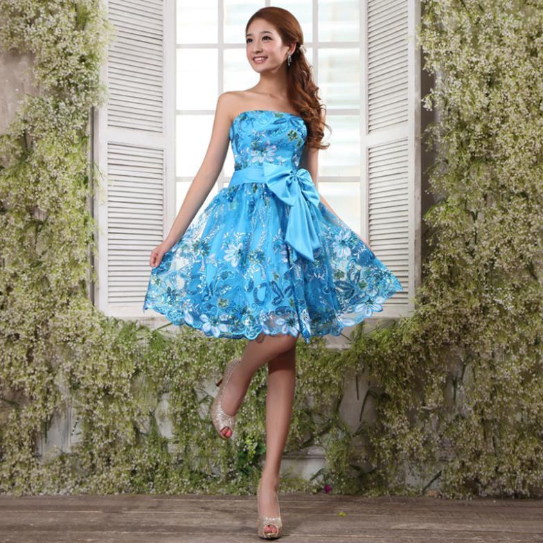 2017 הקיץ האביב הקצר סיום שמלות כחול תחרה שמלות ערב סקסית פורמליות שמלת כלה שמלת סטרפלס עיצוב