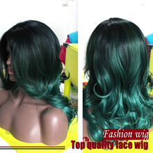 New Arrive Malaysian Hair Wave Wigs Two Tone Color Black To Green Synthetic Lace Front Wigs Heat Resistant Synthetic Hair Wigs