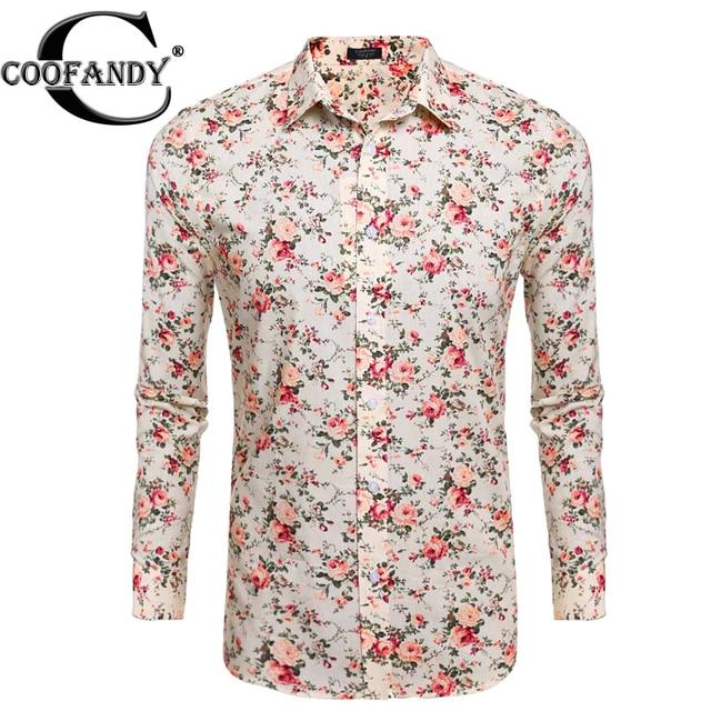 f9ef41caa0f COOFANDY Men Flower Shirt Casual Long Sleeve Print Floral Button Floral  Prints Shirts US Size S M L XL XXL Beige