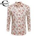 Camisa dos homens flor coofandy botão casual manga comprida imprimir floral estampas florais camisas eua tamanho s/m/l/xl/xxl bege, preto