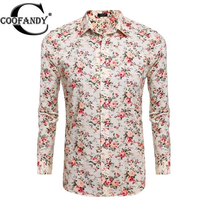 ef74120de8 Camisa dos homens flor coofandy botão casual manga comprida imprimir floral  estampas florais camisas eua tamanho