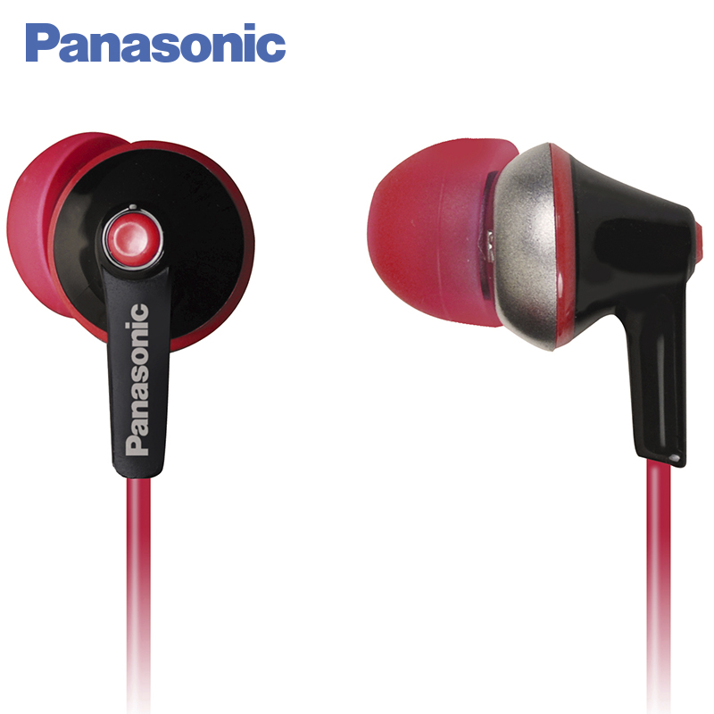 Panasonic RP-HBE125MEK In-Ear wired with microphone, Earphone Headphon in-ear fone universal 3 5mm in ear stereo earphone w microphone dust plug for cellphone mp3 pc psp red