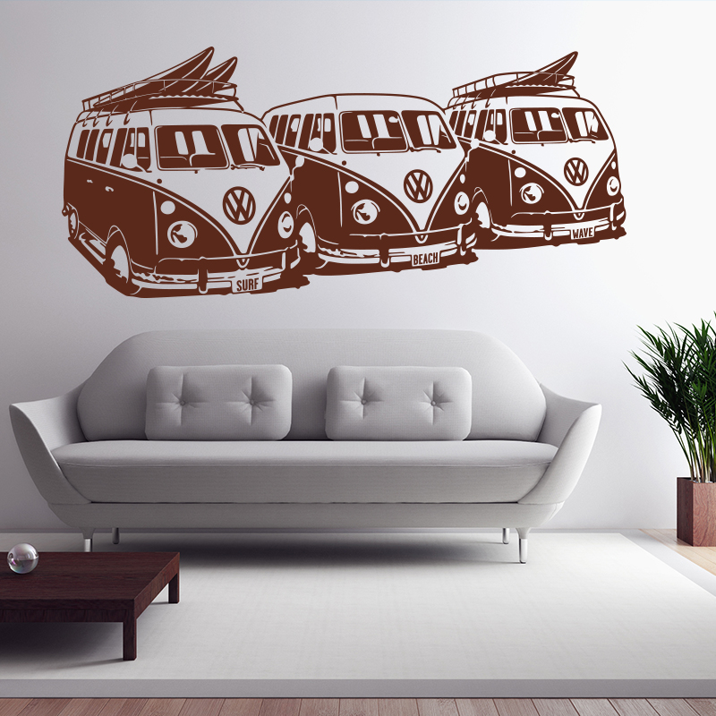 art design wall sticker 3 volkswagen surf vans home decor diy car wall decals house decoration mural. Black Bedroom Furniture Sets. Home Design Ideas