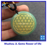35mm Natural Green Aventurine Quartz Crystal Flower of Life Pendant Men Women Jewelry Carved Healing Free shipping Wholesale