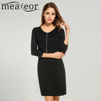 Meaneor Spring Summer Dress Women 2017 Casual Fashion Clothing V Neck 3 4 Sleeve Zip Front