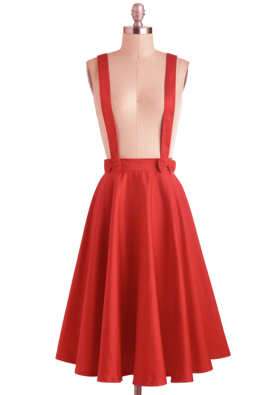 f4e51362ae0 15- women vintage 50s circle swing suspender strap midi skirt in red  rockabilly pinup bow