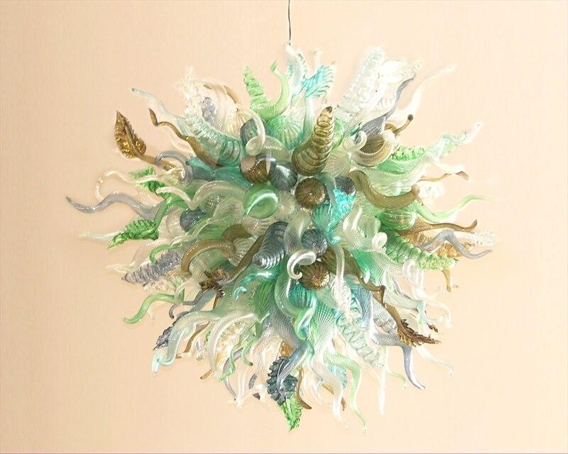 Işıklar ve Aydınlatma'ten Avizeler'de AC 110/120/220/240 V Güzel Lüks Sanat Renkli çiçek avizesi LED Ampuller El Üflemeli Murano Cam oturma Odası için