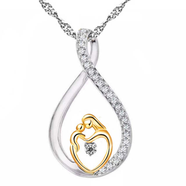 Placeholder Moms Jewelry Birthday Gift For Mother Baby Heart Charm Pendant Mom Daughter Son Child Family Love