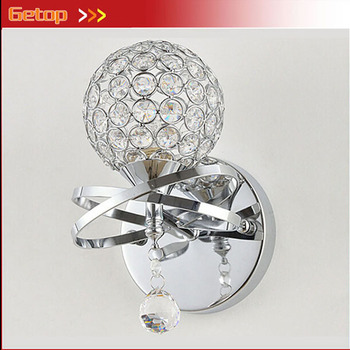 ZX Best Price Modern Simple K9 Crystal Silver spheroidal or open E14 LED Wall Lamp for Bedside Stair Restaurant Corridor