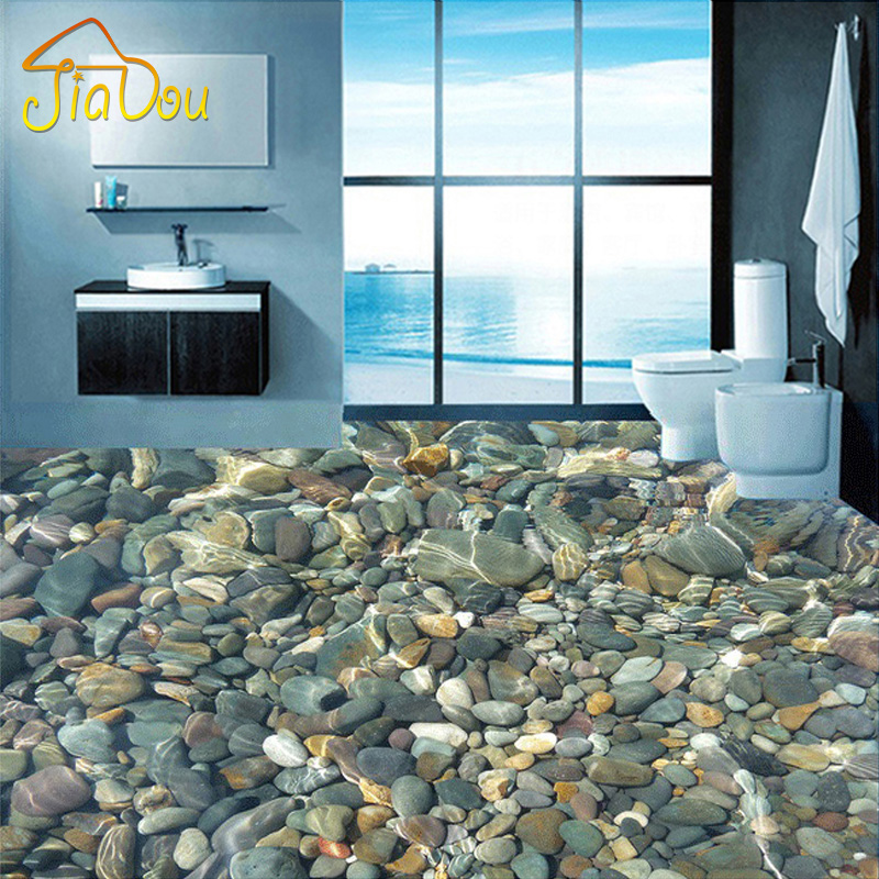 Custom flooring wallpaper 3d lifelike pebbles living room for Bathroom floor mural sky