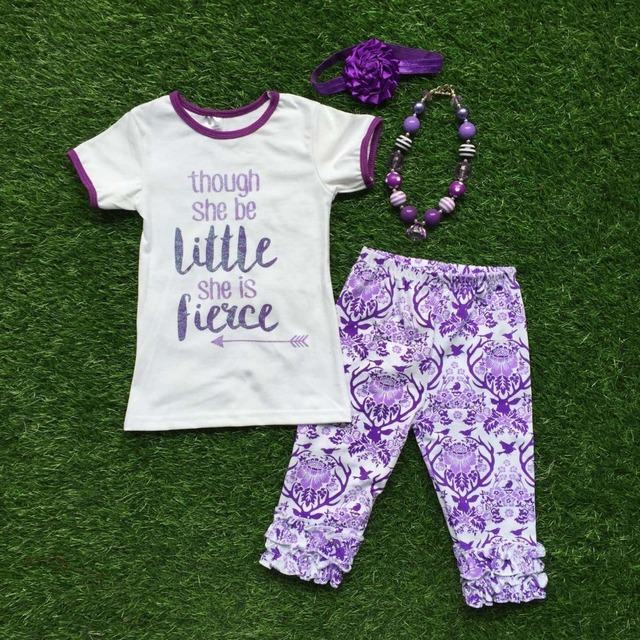Girls Summer clothes baby girls boutique clothing children though she be little she is fierce outifts with accessoreis