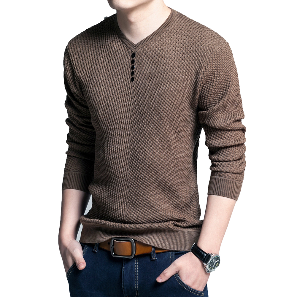 Solid Color Pullover Men V Neck Sweater Men Long Sleeve Shirt Mens Sweaters Wool Casual Dress ...