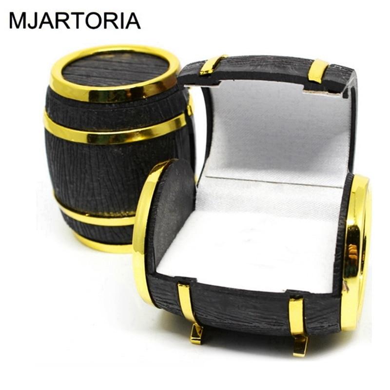 MJARTORIA Gift Box For Jewelry Fashion Jewelry Cases Jewelry Organizer Creative Beer Kegs Ring Box For Lady&Women 4.9x4.1cm 2PC