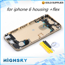 Metal alloy back frame cover case for housing iphone 6 battery door + side keys replacement parts 1 piece free shipping