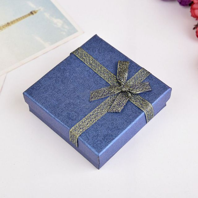 Gift Box Bule Rope Bow Tie Ring Box Jewelry Display Storage Jewelry Bags  Necklace Display Wedding