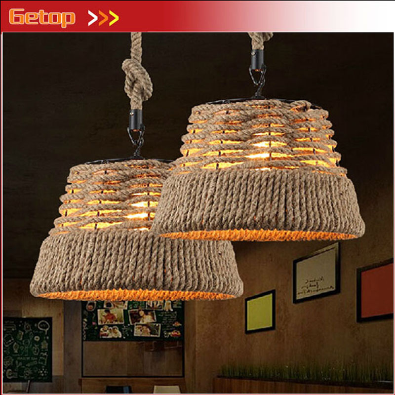 ZX Retro Industrial <font><b>LED</b></font> Pendant Lamp Durable Wicker Iron Hand Knitted Pastorable Lighting for Dining Room Bar <font><b>Clothing</b></font> Store