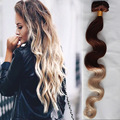 Popular Ombre Castaño Rubio Clip En Pelo Sin Transformar Malasia Virgin Hair Body Wave 10 unids/set #4/#60 Clip En Extensiones de Cabello
