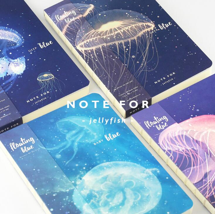 Note for jellyfish creative notebook 12.5*18.5cm 80 pages blank sheets office school journal sketchbook gift