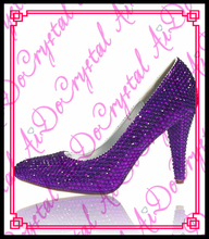 Aidocrystal Handmade Women Pumps Brand Women Shoes High Heels Sexy Pointed Toe Purple Crystal 7CM High