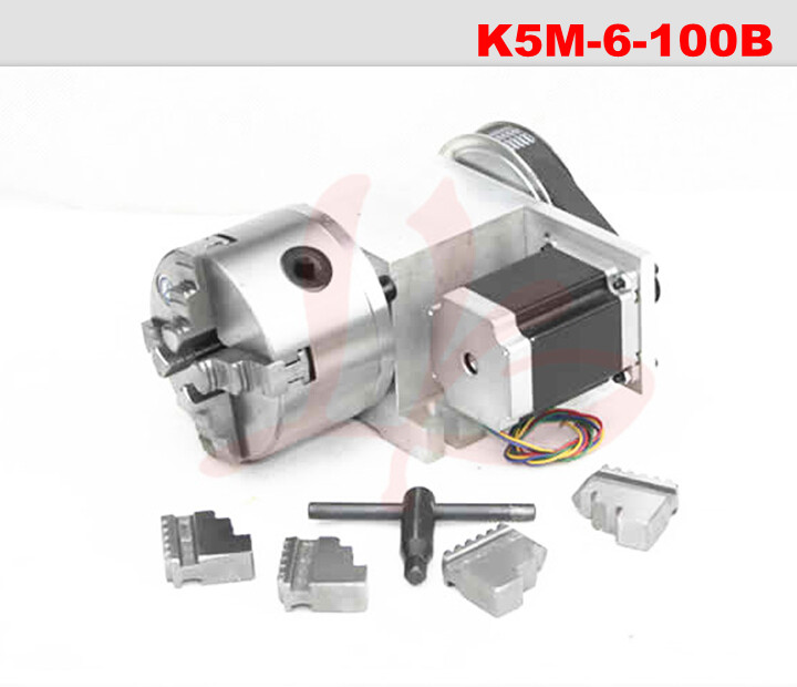 hollow shaft 4 Jaw 100mm chuck CNC 4th rotary Axis CNC dividing head