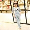 Calças de brim macacão para a menina 4-13 Anos de primavera 2016 novas crianças Coreanas denim macacões calças Adolescentes Adolescentes Desgaste Meninas