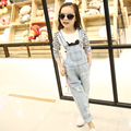 jeans coverall for girl 4-13 Years Teens spring 2016 new Korean children denim overalls trousers Teenage Wear Girls