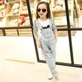 jeans coverall for girl 4-13 Years Teens spring 2016 new Korean children denim overalls trousers Teenage Wear Girls